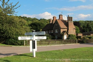 Village sign and The Old Forge Cottage, Trooper Road, Aldbury