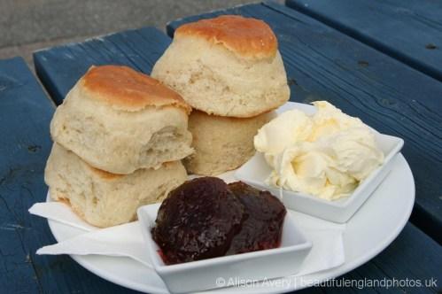 Cornish cream tea, The Old School Hotel, (the school, Doc Martin) Port Isaac