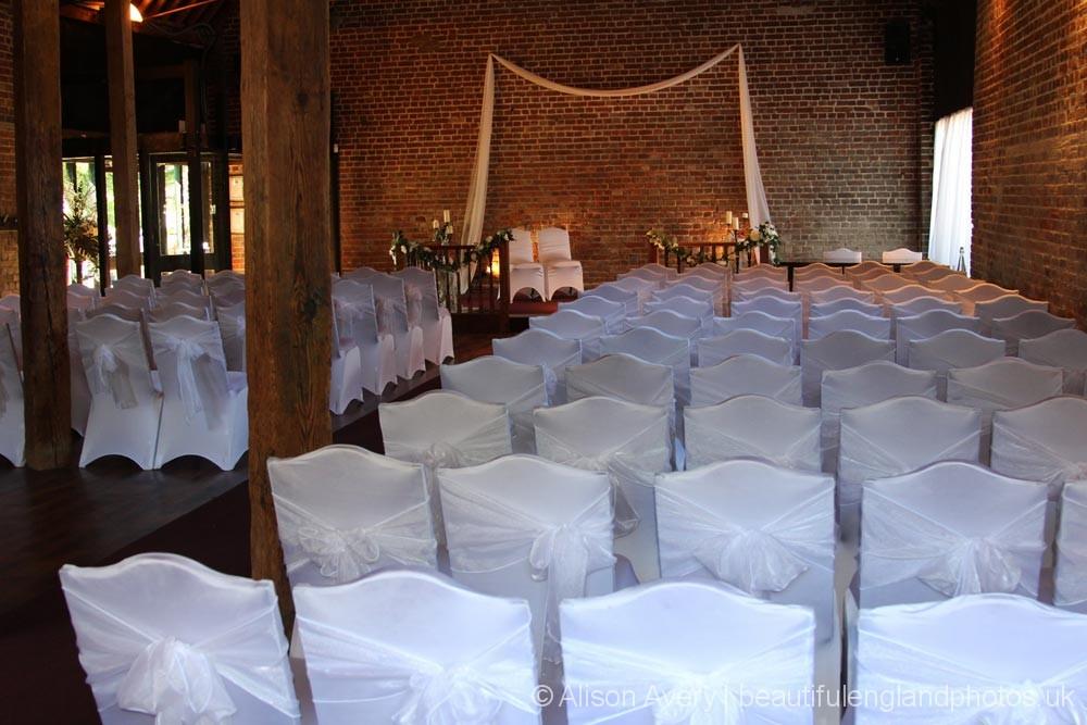 Fathom Barn, set for a wedding ceremony, Cooling Castle Barn, Cooling