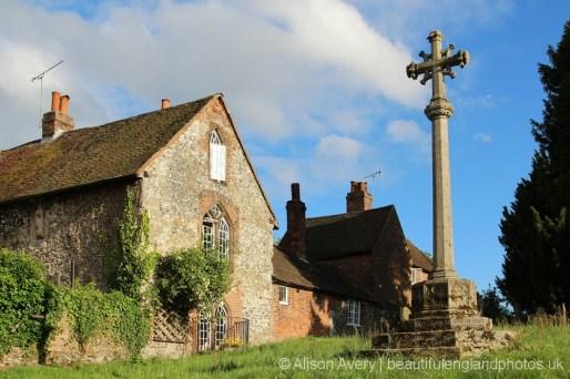 Memorial Cross and The Stone House, St. Mary Magdalene Churchyard, Cobham