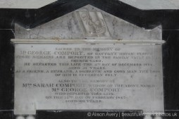 Plaque to George Comport and his wife, Sarah, St. James' Church, Cooling