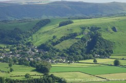 Castleton, Peak Cavern and Peveril Castle, from Mam Tor, Peak District