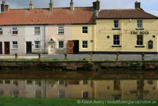 Cottages and The Buck Hotel, alongside River Leven, Great Ayton