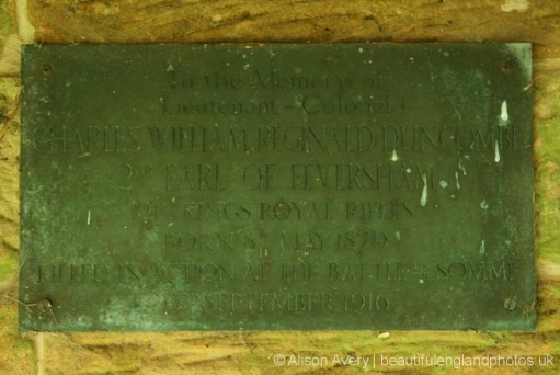 Plaque, Memorial to Charles Duncombe, St Mary's Churchyard, Rievaulx