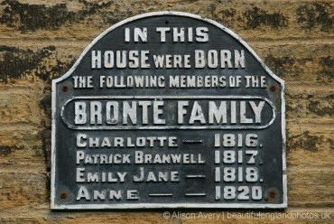 Plaque on the wall of the Brontës Birthplace, Market Street, Thornton