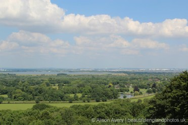 River Thames, King George VI and Staines Reservoirs, from Air Forces Memorial, Runnymede
