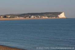 Seaford Head across Seaford Bay, from Tide Mills Beach, near Newhaven