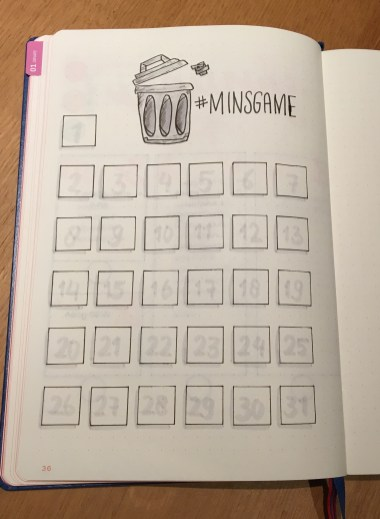 Minsgame 2019 minimalistic living Bullet Journal spread