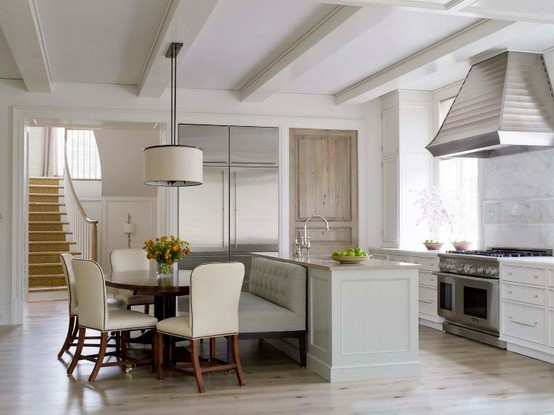 kitchen settee euro style cabinets banquettes how to get the look with a sofa loveseat or design boulder colorado