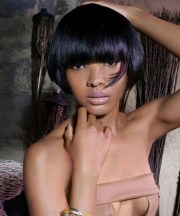 black hairstyles with bangs beautiful