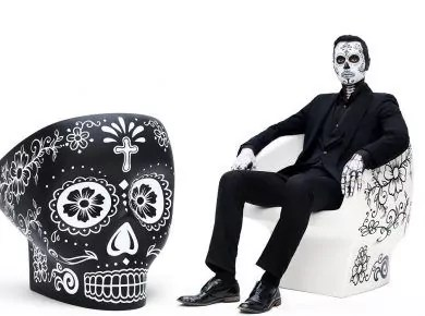 black skull chair gray upholstered dining chairs angular armchair by harold sangouard fabio novembre s updated for mexico day of