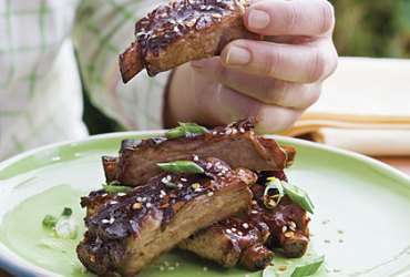 The ultimate finger food, honey-soy appetizer ribs can serve equally well as an appetizer or as a main dish. Just ask your butcher to cut a shorter bone.