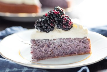 This unusual blackberry cake gets its flavor and color from an infusion of fresh blackberry purée. Finish withwhipped creamor cream cheese frosting.