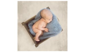 photo of 7 week old baby boy in crate with blue blanket
