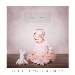 first birthday photo with favourite teddy