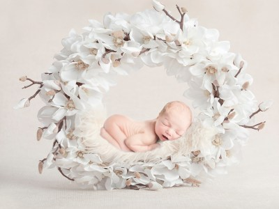 newborn baby photography-composit baby in flowers epsom surrey