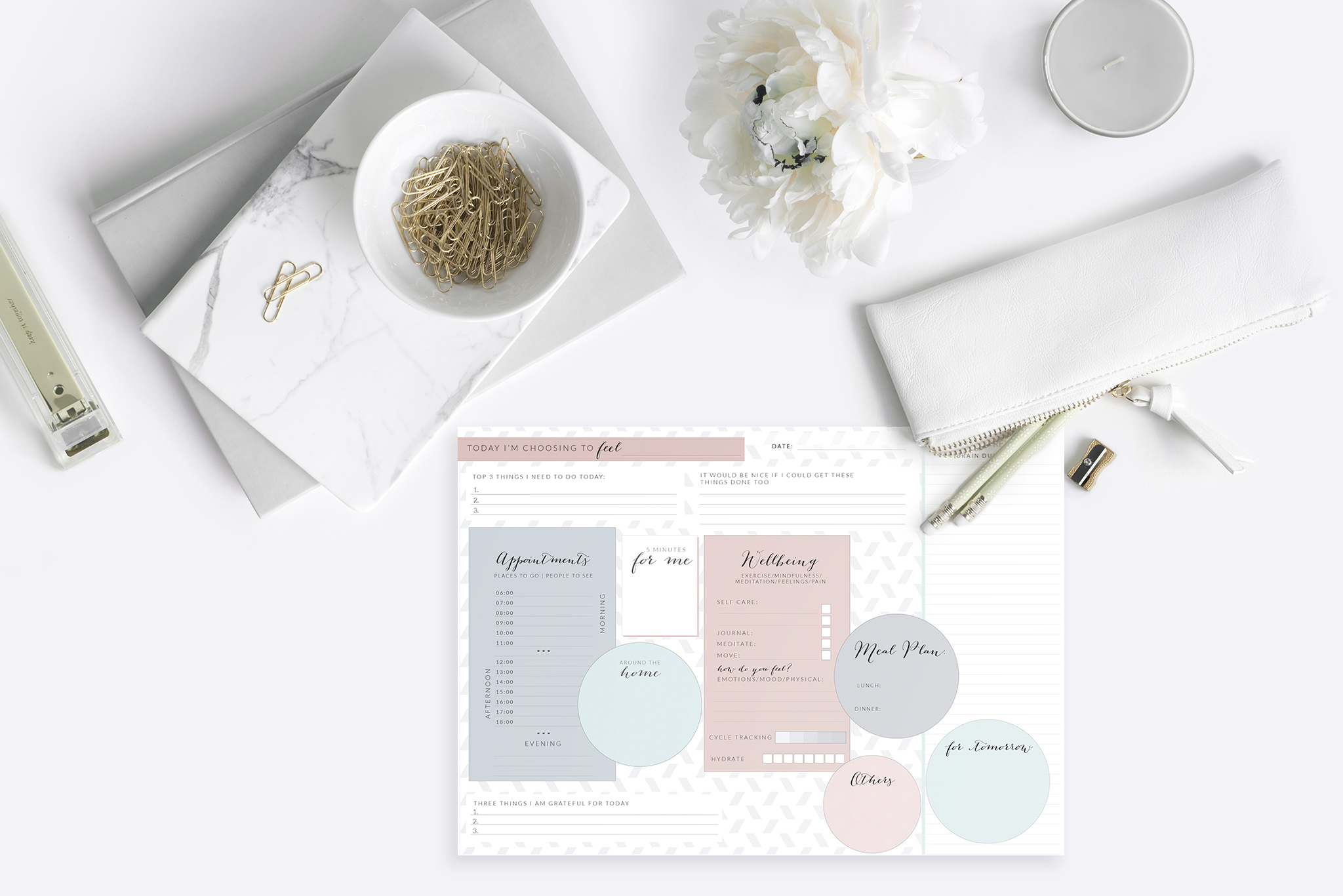pink mindful daily planner