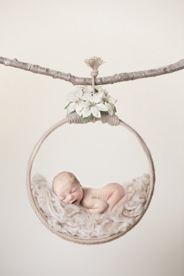 newborn baby photo baby lying in a hoop