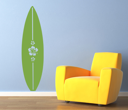 hibiscus surfboard beautiful wall decals