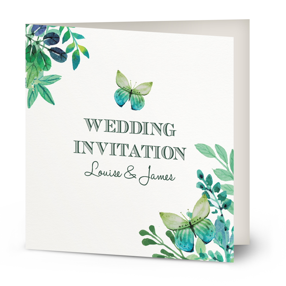 Watercolour Butterfly wedding invitation  Beautiful Wishes