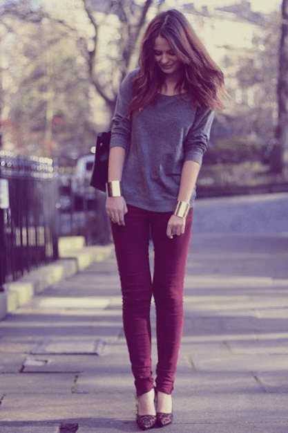 Grey t-shirt with purple pants