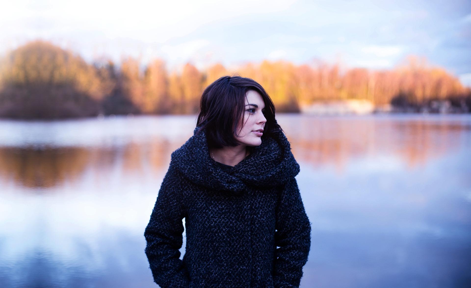 woman fall lake