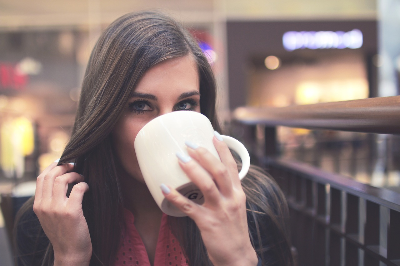 woman drink from a cup