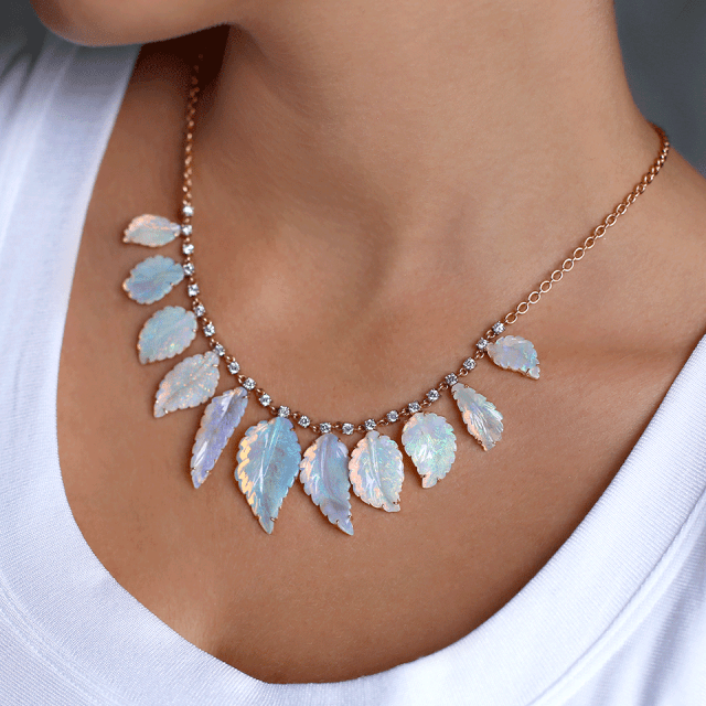 irene neuwirth carved opal leaf necklace