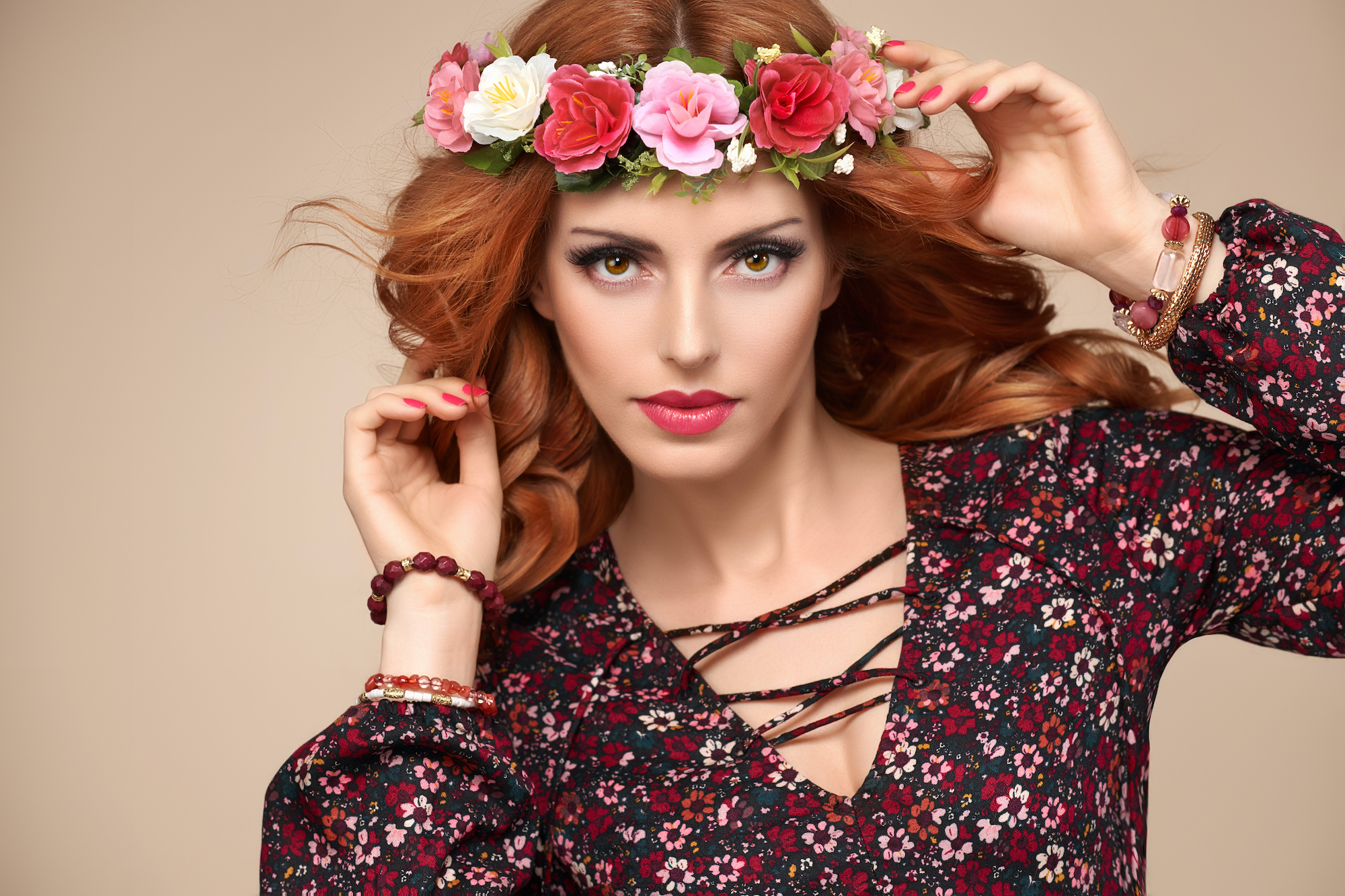 Autumn Fall Fashion. Redhead Woman Portrait.Makeup