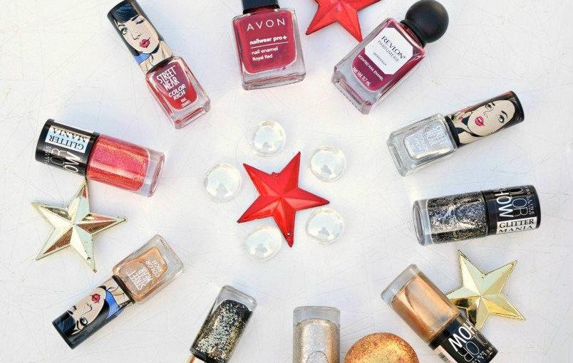 Mani Picks for New Year's Eve (Mostly Red & Gold)