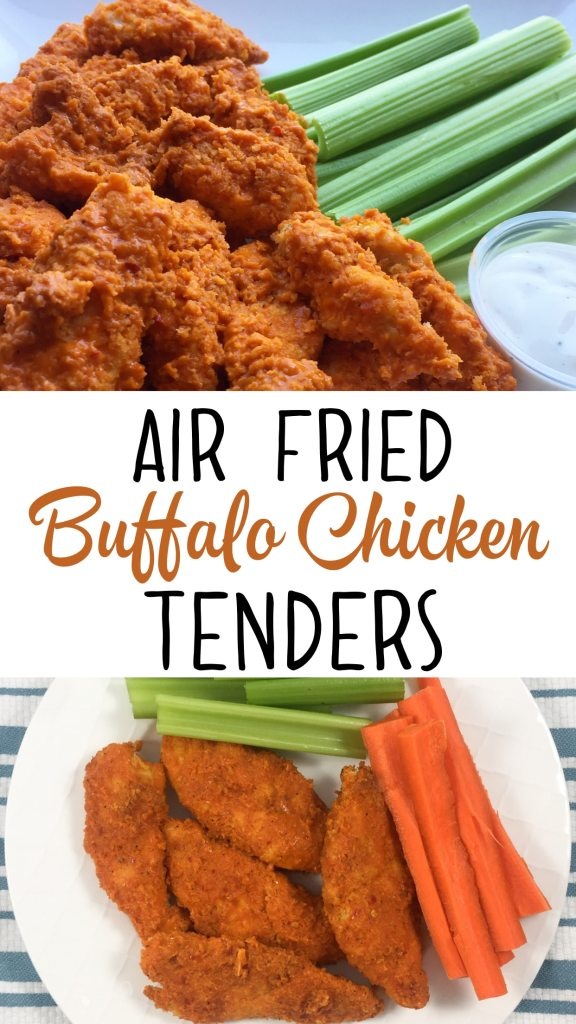 A healthy buffalo chicken recipe for your air fryer. It's quick, easy, delicious and a healthy way to enjoy chicken strips! #airfryer #airfryerrecipes #airfryerchicken