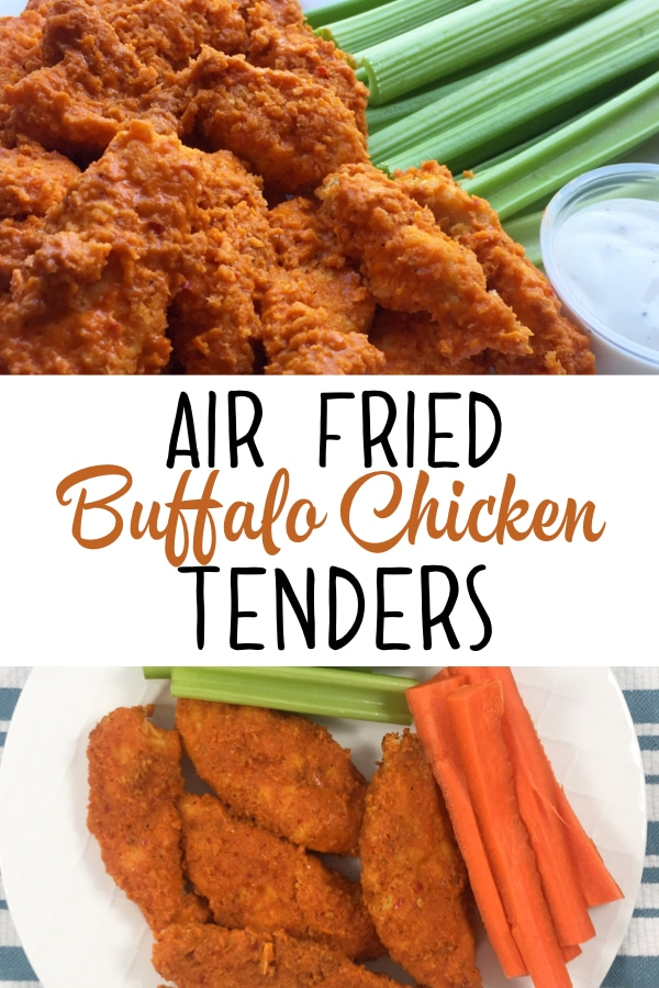 A healthy buffalo chicken recipe for your air fryer. It's quick, easy and SO delicious! #airfryer #airfryerrecipes #airfryerchicken