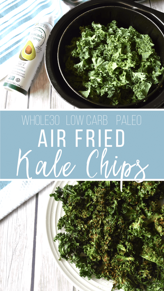This air fryer recipe for kale chips is yet another fun way to spruce up your vegetables. This recipe is healthy, easy and satisfies cravings for crunch with minimal amounts of oil! A total win! #airfryer #whole30recipes #kalechips