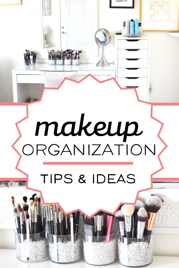 Tips and ideas for makeup storage and organization. Simple, cheap and even DIY ways to organize your vanity area! #vanity #makeup