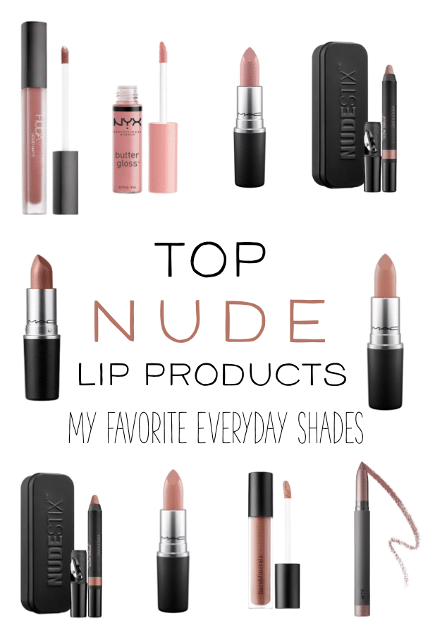When it comes to makeup and beauty products, the perfect nude lip color is a fan favorite! These are my top nude everyday lip shades. From matte lipsticks to shiny glosses, this list has a little of everything! #nudelips #makeup #beautyproducts