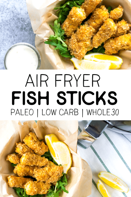 This recipe for air fryer fish sticks is the perfect easy dinner or snack! It's paleo, low carb and gluten-free so you don't have to sacrifice health for taste! #airfryer #airfryerrecipes #paleorecipes