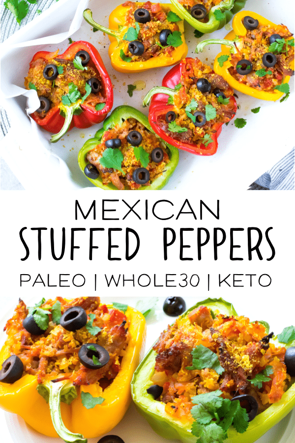 This recipe for Mexican stuffed peppers is a perfect Keto friendly option for an easy weeknight meal the whole family will love. Made with healthy, low carb and paleo ingredients, it's also perfect for your healthy meal prep! #keto #paleo #whole30