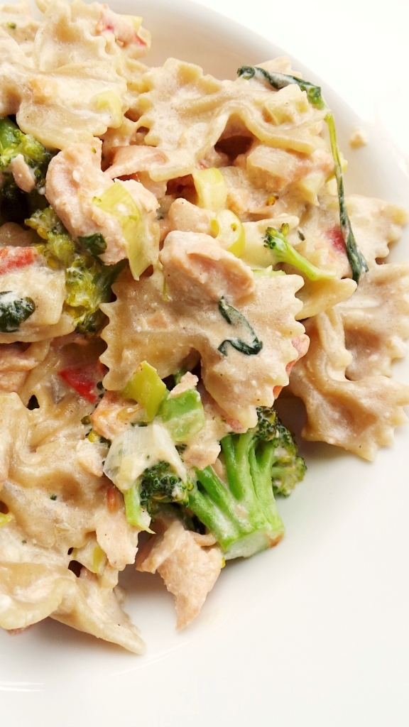 healthy salmon and creme fraiche pasta