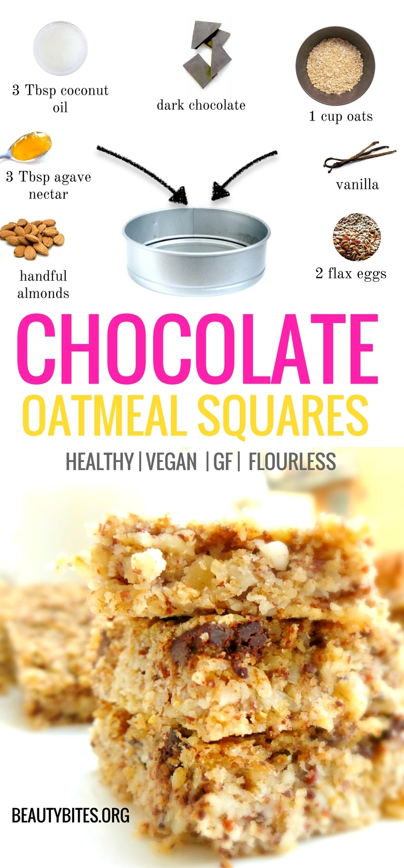 Flourless, healthy & vegan chocolate oatmeal bake! This is a great healthy breakfast recipe that is also great for meal prep as it keeps for up to 3 days. This easy breakfast recipe is vegan, gluten-free, dairy-free and high-fiber #easyrecipe #mealprep