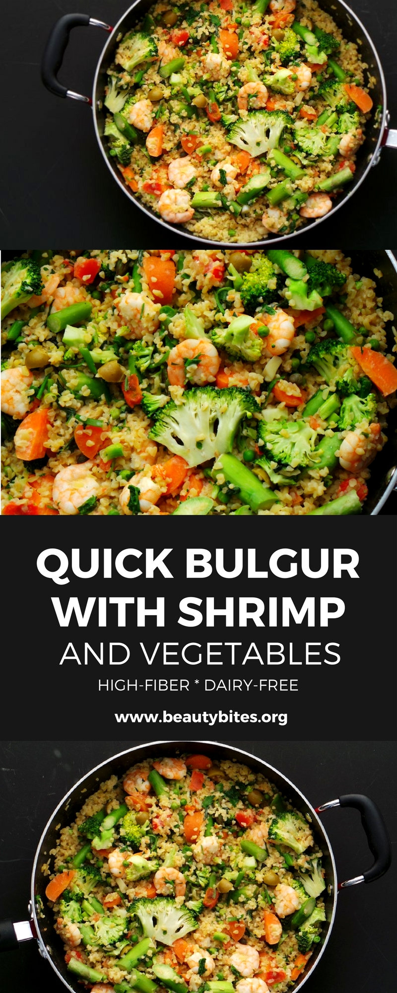 Shrimp, bulgur and vegetables - a delicious healthy dinner that takes around 20 minutes, is high-fiber, dairy-free and easy!