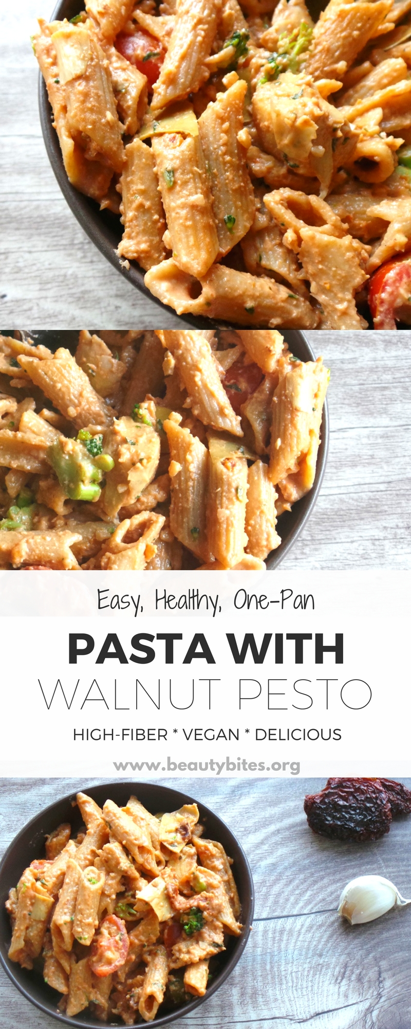 Healthy pasta recipe that is dairy-free, but delicious! This vegan pasta recipe is made with a tasty walnut pesto is high-fiber, easy and you only need one pan (cooking pot)! | healthy vegan dinner recipes