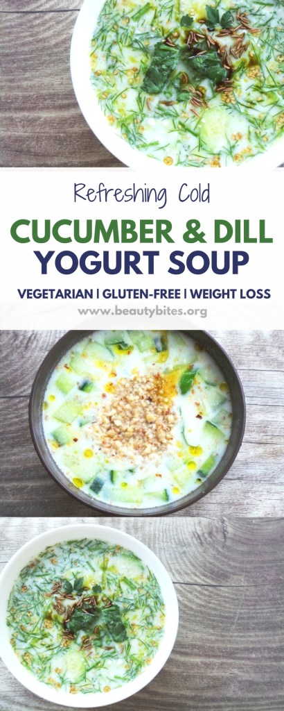 Not the biggest fan of cold soups, but my sister loves this cold cucumber soup with dill and yogurt, so I thought I'd share it! It's a great weight loss recipe and a refreshing summer recipe! With or without you, garlic.