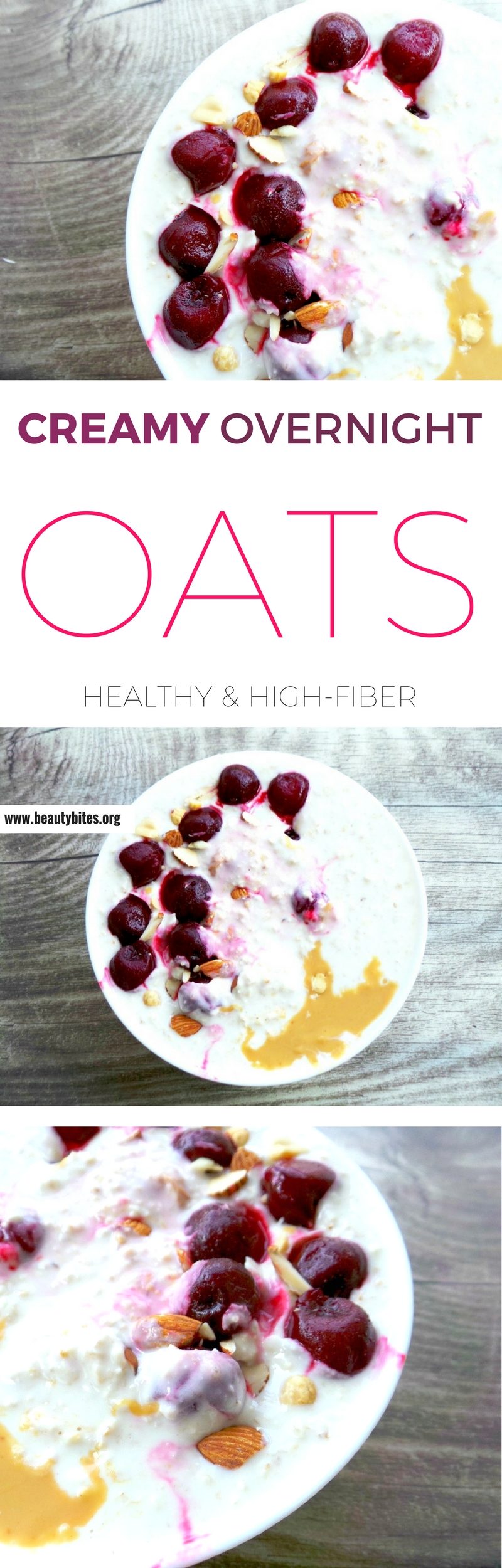 Healthy overnight oats recipe with peanut butter and frozen berries or cherries! Delicious easy healthy breakfast idea you need to try
