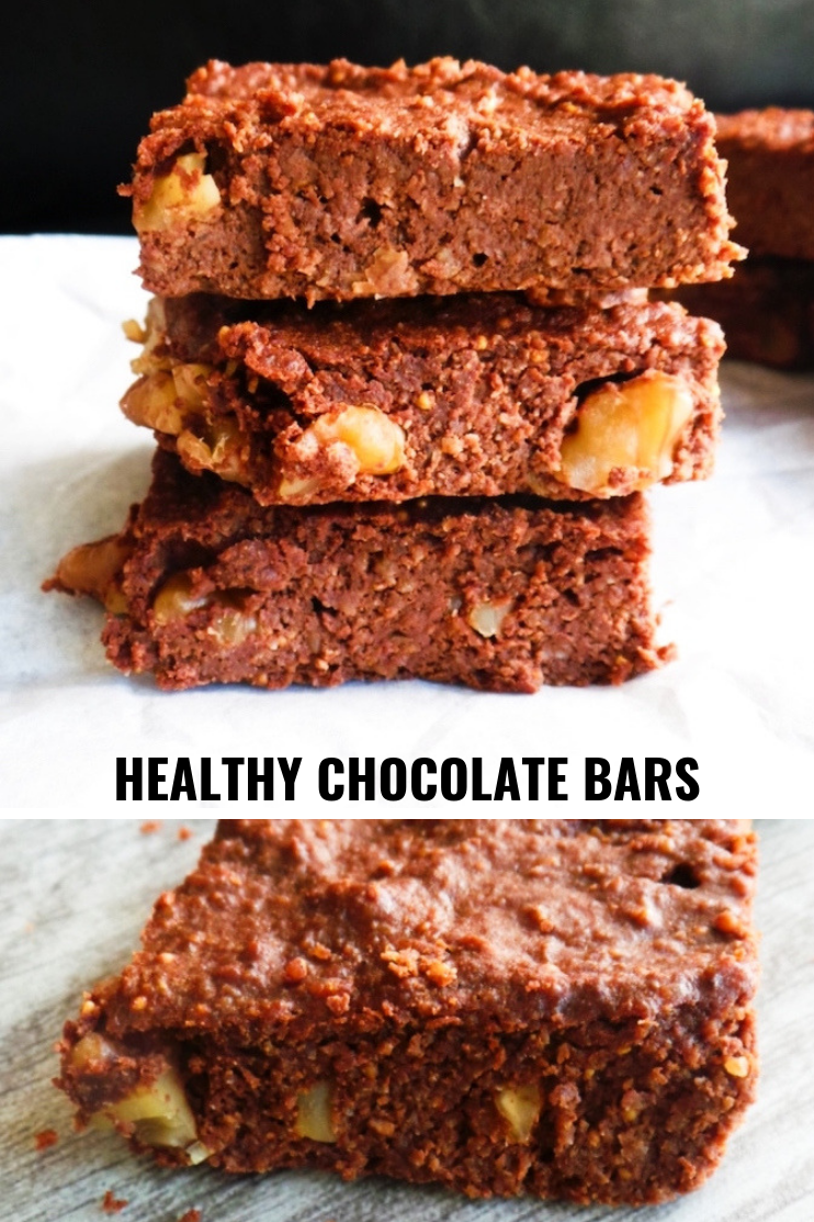 Healthy chocolate dessert! These healthy chocolate bars are pretty much like brownies, but not really. They're delicious, they're sweetened with dried fruit, only downside - it's hard to eat just one. These keep well in the fridge and can survive there for 3-5 days, so if you want to meal prep them - you can! If you have chocolate cravings - this healthy dessert is worth a try. #chocolate #healthy