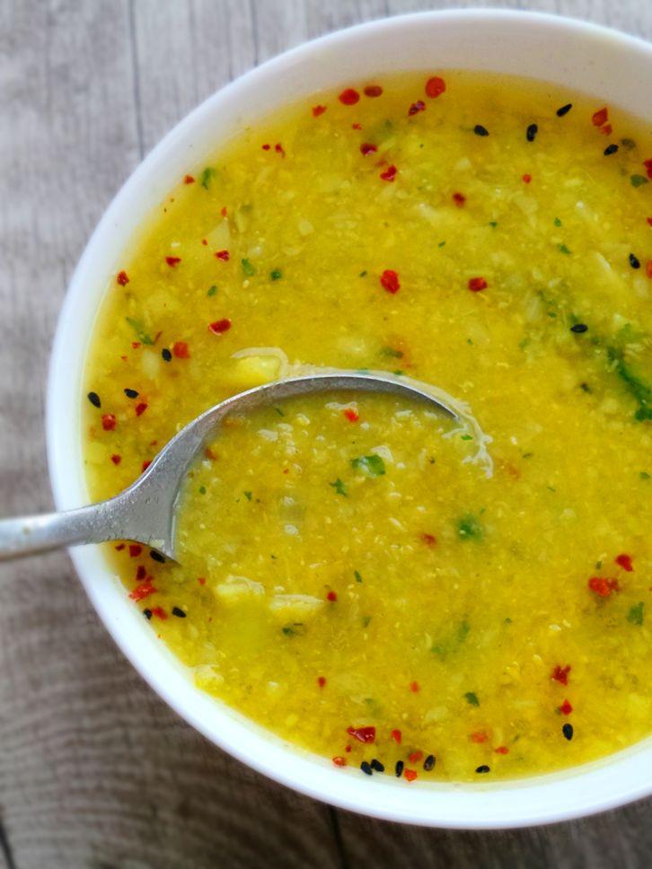 Red lentil broccoli detox soup