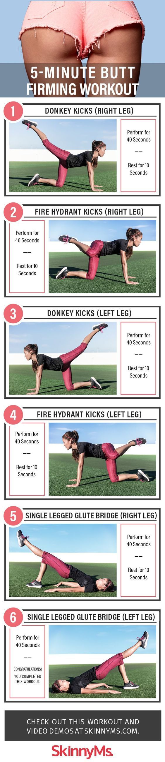 Looking for a great booty workout? Try these workouts for a firm booty! These quick workouts take 5 minutes of your time and you can do them daily, whenever you have the time. This amazing list includes 5-minute ab workouts for flat belly, 5-minute butt workouts, 5-minute leg workouts and inner thigh workouts and 5-minute arm workouts. Most of these exercises require almost no equipment. Some of them - just a pair of dumbbells and you can do them at home or anywhere you want. Have fun!