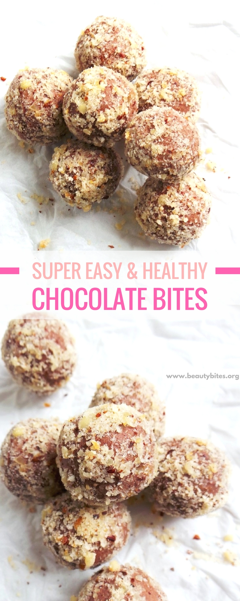 Satisfy your chocolate cravings with these chocolate bites! This is a healthy chocolate dessert that's easy and quick, full of antioxidants and good source of omega-3's! | beautybites.org | Clean Eating Dessert Recipes