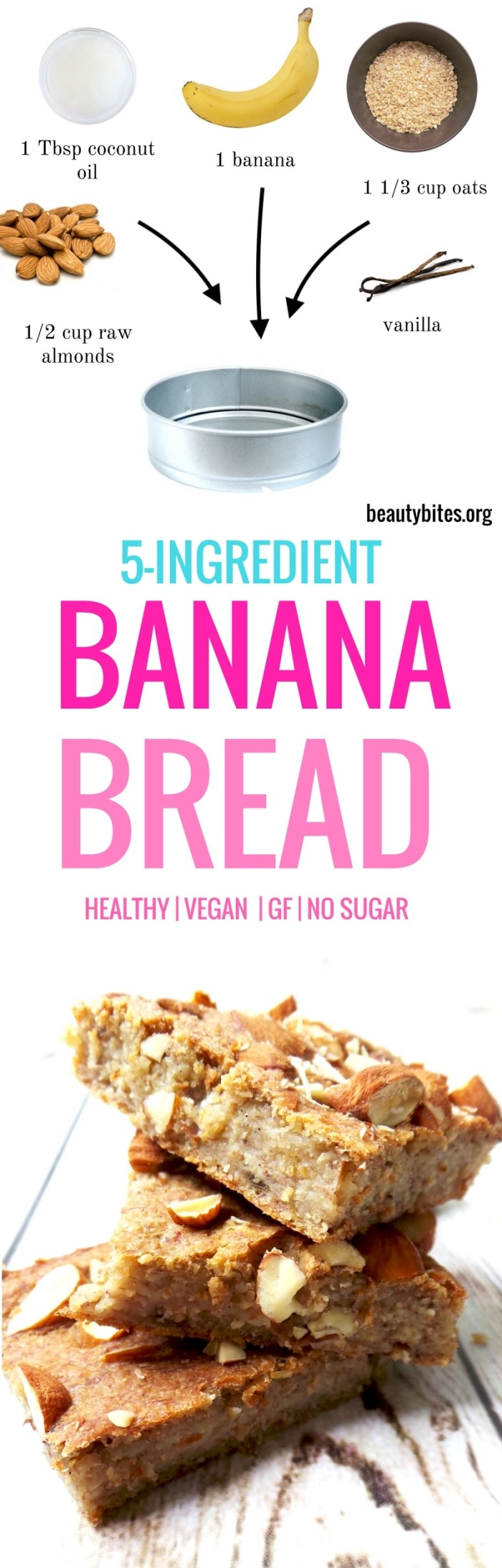 Healthy banana bread - vegan and flourless. This healthy snack is easy & just 5 ingredients to make, it's also good for a healthy meal prep as it keeps well in the fridge for up to 5 days. Healthy vegan breakfast | Healthy vegan banana bread | High-Fiber Breakfast Recipe #healthyrecipe
