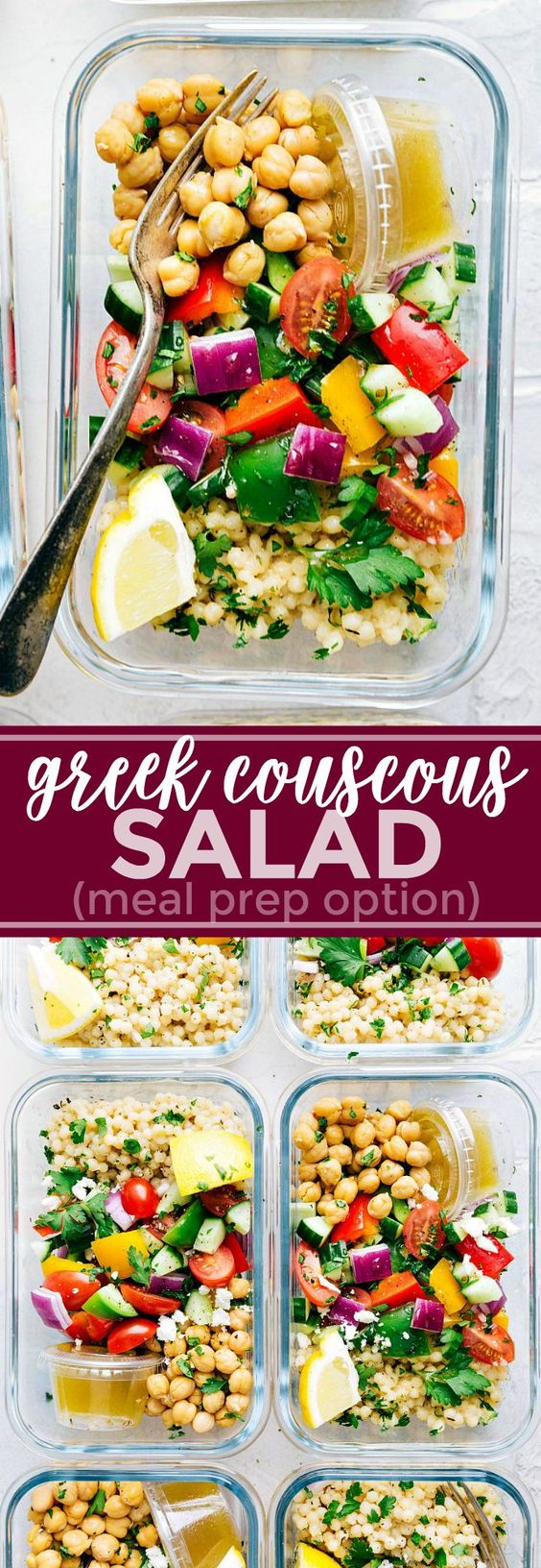Meal Prep Greek Couscous Salad by Chelsea's Messy Apron