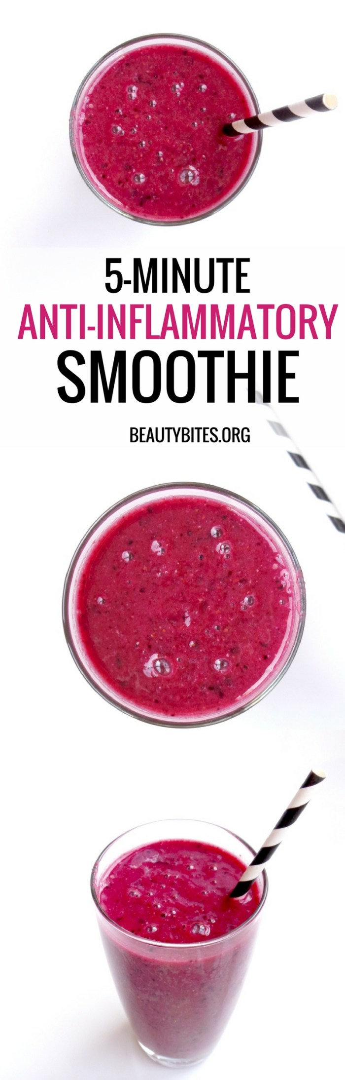 5-minute anti-inflammatory smoothie. Start your mornings with this simple anti-inflammatory recipe or have it as a healthy snack later during the day to easily add more antioxidants to your diet! This recipe is also vegan, paleo and gluten-free! #healthyrecipe #smoothie